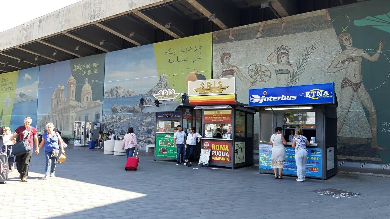カターニア空港からバス移動